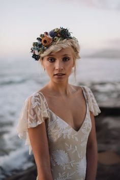 boho bride in Rue de Seine gown and flower crown