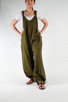 Jumpsuits,Military green cotton, jumpsuit dress ,maternity,plus size via Etsy