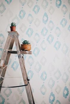 SEA GREEN - Watercolor Diamonds - Large Wall Mural, Watercolor Mural, Wallpaper