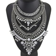 Vintage Bib Rhinestone Crystal Statement Choker Necklace For Women