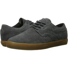 Globe Taurus (Charcoal/Gum) Men's Shoes ($55) ❤ liked on Polyvore featuring men's fashion, men's shoes, black, mens black wingtip shoes, mens wing tip shoes, mens shoes, mens wingtip shoes and mens black shoes