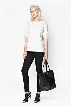 Black Aubree Textured Tote Bag by French Connection
