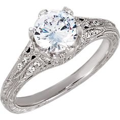 69803 / 14KW / ENGAGEMENT / SEMI-MOUNT / 06.50 MM CENTER STONE / P / 1/5 CT TW HD ENGRAVED ENG RING