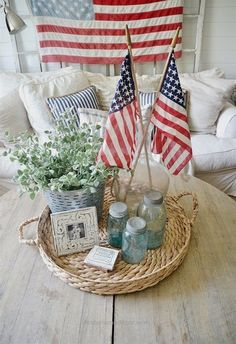 Superb 4th of July home decor – Simple ways to bring 4th of July decor into your house without breaking the bank.   The post  4th of July home decor – Simple ways to bring 4th of July decor i .. Fourth Of July Decor, 4th Of July Decorations, 4th Of July Party, July 4th, Christmas Decorations, Patriotic Party, Patriotic Crafts, July Crafts, Memorial Day Decorations