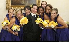 Sheridan Remnant Fellowship Church Wedding  - Groom with Bridesmaids