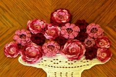 """Vase of Roses"" - Fiber Art Decor with Multi-layer Irish Crochet Roses in Reds and Pinks - the ""vase"" is hand-crocheted in white filet crochet ... totally #Handmade by @rssdesignsfiber of RSS Designs In Fiber"