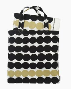 Marimekko's Räsymatto fabric & bag set in gold, black and white features Maija Louekari's dotted pattern depicting the texture of traditional rag rugs in a delightful, graphic manner. Swedish Design, Nordic Design, Fabric Design, Pattern Design, Marimekko Fabric, Shops, Textile Prints, Online Bags, Branding Design