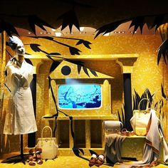 """HERMES,Faubourg Saint Honore, Paris, France, """"But wait!..... What's on TV tonight?', photo by The Window Lover, pinned by Ton van der Veer"""