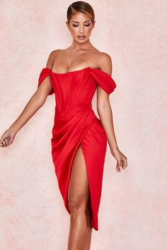 Clothing : Bodycon Dresses : 'Loretta' Red Satin Off Shoulder Dress Informations About Clothing : Bodycon Dresses : 'Loretta' Red Satin Off Shoulder D Red Bodycon Dress, Red Midi Dress, Red Corset Dress, Red Satin Dress, Corset Dresses, Dress Prom, Dress Long, Party Dress, Satin Dresses