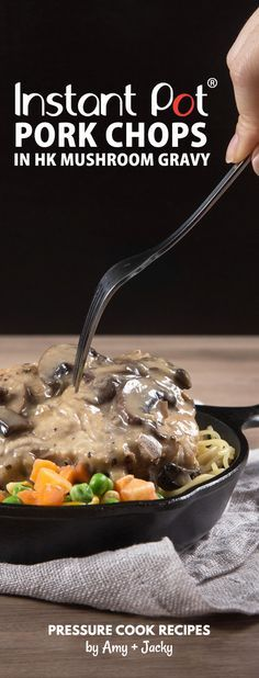 Easy Instant Pot Pork Chops Recipe with classic homemade HK Mushroom Gravy! Comforting Umami Pressure Cooker Pork Chops are tender and moist. via /pressurecookrec/