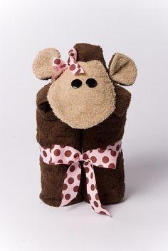 Girl Monkey Hooded Towel