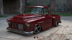 Vintage Trucks 1955 Chevy 3100 Pick Up. This is a design for a real vehicle being built. The client was unsure of color and mag options to go with so this colorway and mag selection was created to aid in the final build. Custom Chevy Trucks, Vintage Pickup Trucks, Classic Pickup Trucks, Chevy Pickup Trucks, Chevrolet Trucks, Chevy 4x4, Dually Trucks, Diesel Trucks, Lifted Trucks