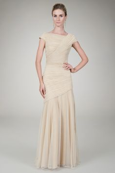 I like the style a lot! Draped Metallic Tulle Gown in Gold - Evening Gowns - Evening Shop | Tadashi Shoji