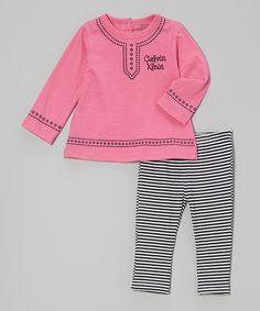 Another great find on #zulily! Calvin Klein Underwear Pink Tunic & Stripe Leggings by Calvin Klein Underwear #zulilyfinds