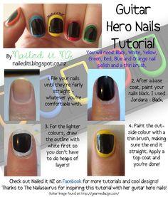 Nailed It NZ: Nail art for short nails #2: Guitar Hero Nails http://nailedit1.blogspot.com/2012/11/nail-art-for-short-nails-2-guitar-hero.html