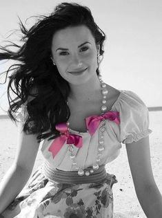 Demi Lovato, Color Themes, Color Splash, Eye Candy, Ruffle Blouse, Black And White, Pink, Touch, Image