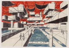 """Spatial City, project, Perspective  Yona Friedman (French, born Hungary 1923)    1958-59. Felt-tipped pen on tracing paper, 13 1/2 x 19 1/2"""" (34.3 x 49.5 cm). Gift of The Howard Gilman Foundation  1192.2000"""