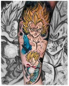 "Armin Primig 🐙 (@mr_catatafish_tattoo) auf Instagram: ""Majin vegeta and little trunks 💛 #kakarot #vegeta #trunks #majinvegeta #dragonballtattoo #animetattoo #mangatattoo Manga Tattoo, Anime Tattoos, Sketchy Tattoo, Leg Sleeves, Princess Zelda, Instagram, Armin, Goku, Character"