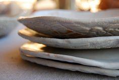 White Ceramic plates dessert plates, Handmade set of 4  Wedding gifts Organic shaped Handmade Tableware salad plates. $88.00, via Etsy.