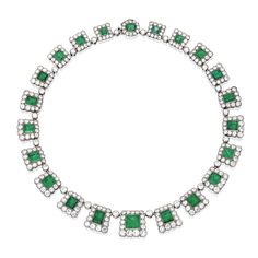 18 KARAT WHITE GOLD, EMERALD AND DIAMOND NECKLACE The square-shaped links of graduated design set with 22 oval, rectangular, emerald and square emerald-cut emeralds, framed and spaced by old European-cut diamonds, length 15½ inches. With fitted box.