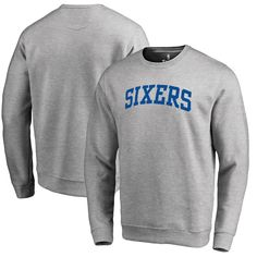 Men's Philadelphia 76ers Fanatics Branded Heathered Gray Wordmark II Pullover Sweatshirt