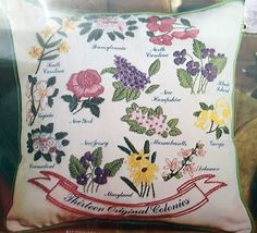 Avon Creative Needlecraft Crewel Kit Thirteen Original Colonies Pillow Flowers #Avon