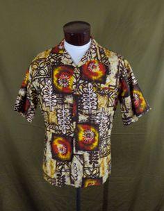 Vintage 60s Barefoot In Paradise Abstract Spiral Tribal Hawaiian Shirt – L - VLV #BarefootInParadise #Hawaiian #VLV