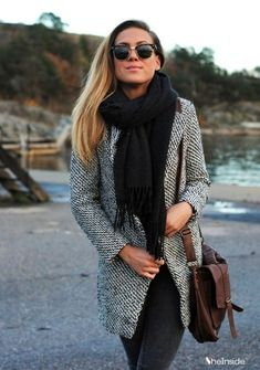 cute tweed coat with black scarf