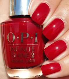 Opi infinite shine can't tame a wild thing Hot Nails, Pink Nails, Pastel Nails, Bright Red Nails, Opi Nail Colors, Opi Red Nail Polish, Nagellack Design, Image Nails, Colorful Nail Designs