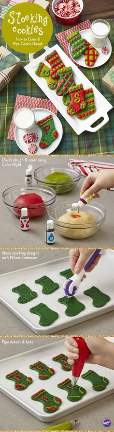 There are more ways to decorate cookies than adding vibrant Icing. Tinting the cookie dough before baking is an easy way. Kick it up another notch by thinning some of that colored dough, then piping it to create details and decoration to the unadorned cookie!