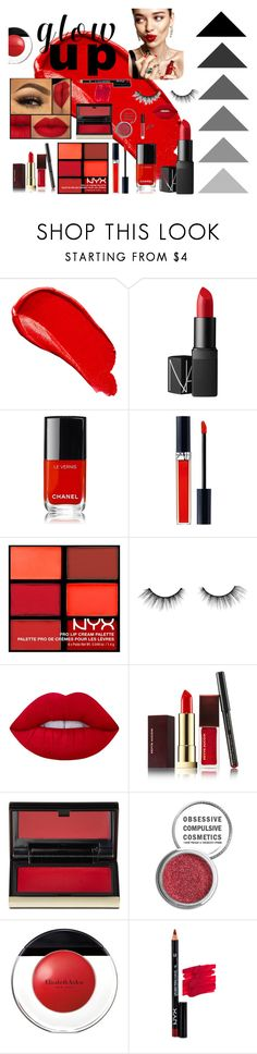 """""""RED GLOW UPPPP"""" by chayanit-ear ❤ liked on Polyvore featuring Burberry, KAROLINA, NARS Cosmetics, Chanel, Christian Dior, NYX, tarte, Lime Crime, Kevyn Aucoin and Obsessive Compulsive Cosmetics"""