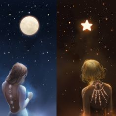 Your place to buy and sell all things handmade The Moon and the Star by Jana Runneck Cartoon Kunst, Anime Kunst, Cartoon Art, Anime Art, Best Friend Drawings, Bff Drawings, Fantasy Kunst, Fantasy Art, Digital Art Girl