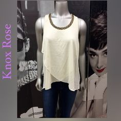 New!! Knox Rose Top NEW!! Beautiful Knox Rose Top with Beading Detail at Neck, Wrapped Look and Longer Back!! Available in Size: XS S M Please Don't buy this listing. Let me know your size and I'll create a new listing for you! Knox Rose Tops