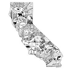 Explore collection of California Drawing California State Tattoos, California Map, California Outline, Cali Tattoo, Tattoo Art, California Christmas, Zentangle, Theme Tattoo, Map Artwork