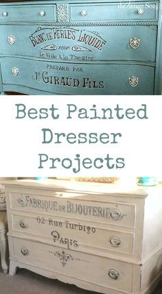 Today I've rounded up 14 of the Best Painted Dresser Projects! All of these pretty crafts and projects were created using Vintage Graphics from my site. Some were created by me, some by my contributors and some were submitted by readers!