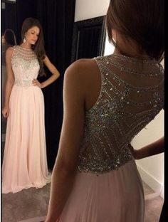 Princess Scoop Neckline Sweep/Brush Train Chiffon Evening Gown With Crystal