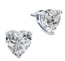 A Perfect 2CT Heart Cut Russian Lab Diamond 14K White Gold Earrings