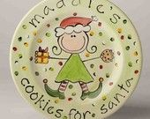 personalized girl's cookies for santa plate