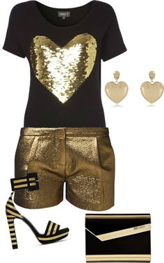 """""""love in black and gold."""" by shoppergurl09 ❤ liked on Polyvore"""