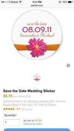 Pink orange sticker favor