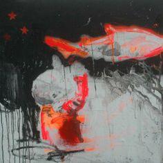 Aurélie Mantillet, Série «  La Vie Moderne », Je choisis le camp ennemi ou L'Allié – Acrylique, pochoir et aérosol sur toile, 2012 ©