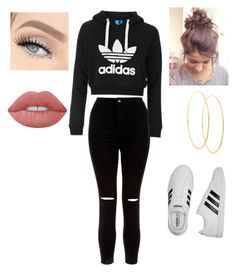 """""""Lazy, but cute!"""" by gchubis on Polyvore featuring adidas, New Look, Topshop, Lana and Lime Crime"""