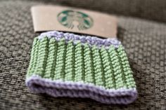 crocheted coffee cozy pattern so easy I memorized the pattern the first time I made it.