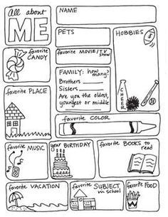 ALL ABOUT ME FREEBIE! - this is great for FIRST week of school - so fun!! Repinned by SOS Inc. Resources pinterest.com/sostherapy/.