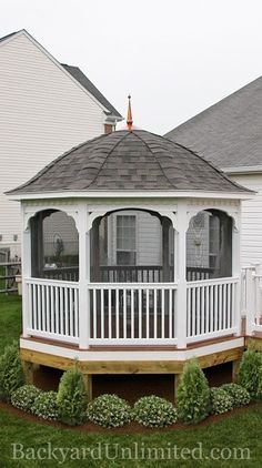 10' Country Style Vinyl Octagon Gazebo with Bell Roof and Screen Package http://www.backyardunlimited.com/gazebos.php