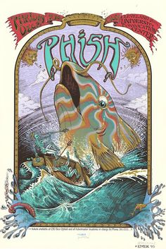 """Phish (click image for more detail) Artist: EMEK Venue: Convocation Centre Location: Cleveland, OH Concert Date: 12/8/1995 Size: 20"""" x 30"""" Condition: Mint Notes: signed and doodled (skeleton fish dood"""