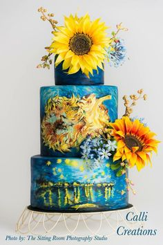 Now this is a cool cake! Van Gogh Wedding Cake on Cake Central Pretty Cakes, Beautiful Cakes, Amazing Cakes, Take The Cake, Love Cake, Wedding Cake Designs, Wedding Cakes, Painted Wedding Cake, Sunflower Cakes