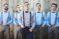 Suspenders and bow ties - great menswear for a more casual wedding Casual Groom Attire, Casual Grooms, Groom And Groomsmen Attire, Wedding Goals, Casual Wedding, Wedding Pics, Dream Wedding, Wedding Ideas, Wedding Outfits
