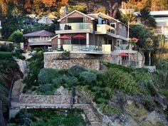 США Laguna Beach Калифорния Особняк Лестница Кусты Города