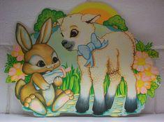 4 VINTAGE EASTER Die-cut Bunny Rabbit Lamb Baby Bottle Beistle